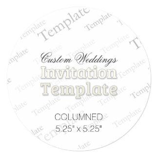 "5.25"" x 5.25"" Columned Custom Wedding Invitation"