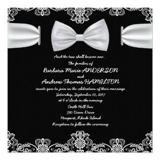 "5.25 x 5.25"" Vintage Lace Bow Wedding Invitation"