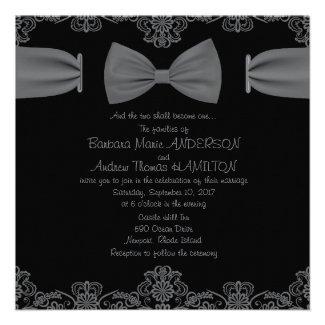 "5.25 x 5.25"" Vintage Lace Dark Bow Invitation"