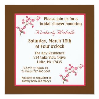 5.25x5.25 Brown Cherry Tree Bridal Shower Invite
