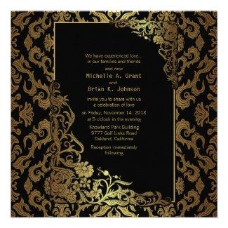 "5.25x5.25"" Damask Luxury Golden Black Wedding Invi Custom Announcements"