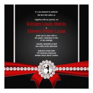 "5.25x5.25"" Glamour Luxury Pearls Wedding Invitatio Personalized Invitations"