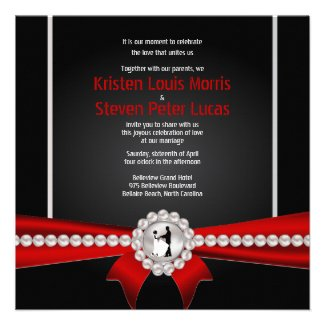 "5.25x5.25"" Glamour Luxury Pearls Wedding Invitatio Personalized Invites"