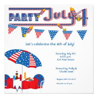 "5.25x5.25"" July 4th BBQ Party Invitation Announcem"