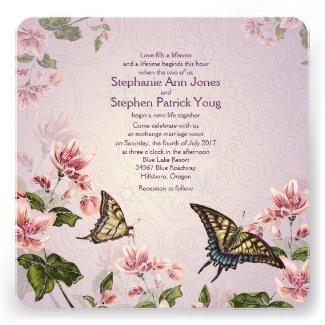"5.25x5.25"" Pink Floral Flowers Wedding Invitation"