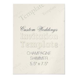 "5.5"" x 7.5"" Champagne Custom Wedding Invitation"