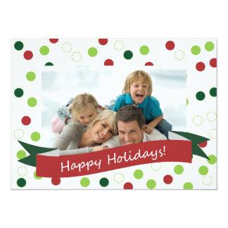 """5.5 x 7.5 Photo Polka Dot Card with Happy Holidays 5.5"""" X 7.5"""" Invitation Card"""
