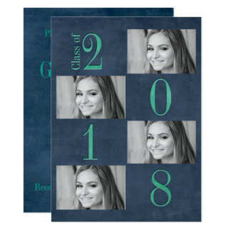 "5.5"" x 7.5"" Teal & Aqua Graduation Announcement"
