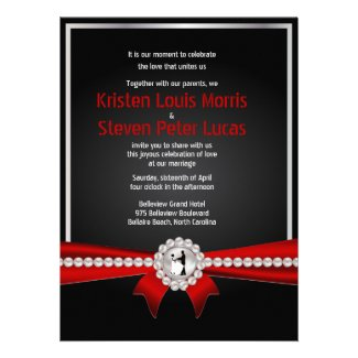 "5.5x7.5"" Glamour Luxury Pearls Wedding Invitation"