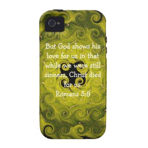 5:8 de los romanos de la cita de la escritura del  Case-Mate iPhone 4 carcasa