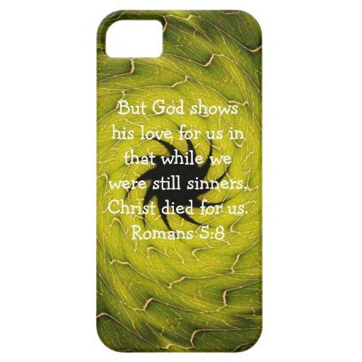 5:8 de los romanos de la cita de la escritura del  iPhone 5 Case-Mate coberturas