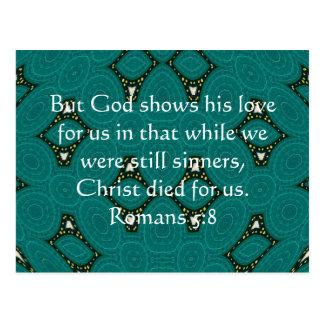 5:8 de los romanos de la cita de la escritura del tarjeta postal