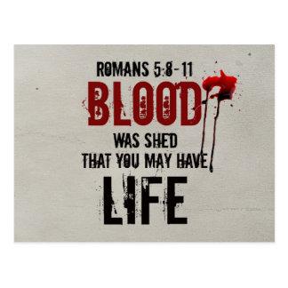 5:8 de los romanos - la sangre 11 fue vertida para tarjeta postal