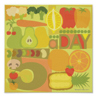 5 a day fruit and veg Poster