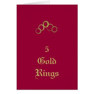 5 anillos de oro - tarjetas del día de fiesta