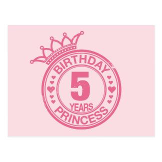 5 años - princesa del cumpleaños - rosa postales