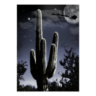 5 Armed Desert Saguaro in the Moonlight Poster