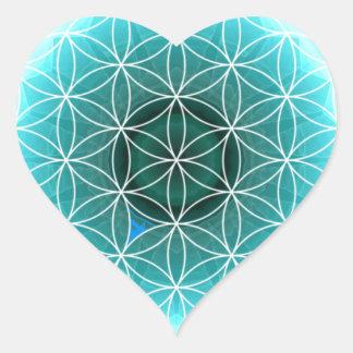 5 azules claros del chakra de la garganta creados calcomania de corazon
