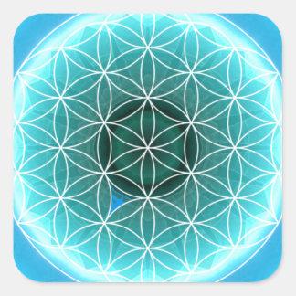 5 azules claros del chakra de la garganta creados pegatina cuadradas personalizada