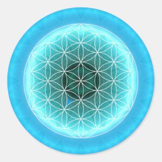 5 azules claros del chakra de la garganta creados etiqueta redonda