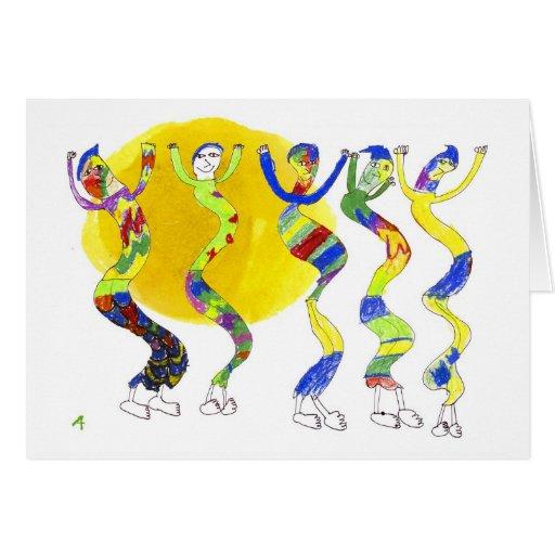 5 bailarines que bailan en la tarjeta de felicitac
