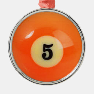"""""""5 Ball"""" pool ball design gifts and products Metal Ornament"""
