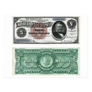 $5 Banknote Silver Certificate Series 1886 Postcard