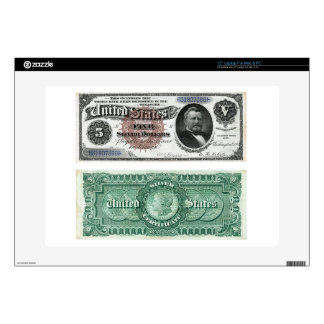 "$5 Banknote Silver Certificate Series 1886 Skins For 15"" Laptops"
