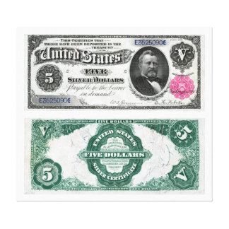 $5 Banknote Silver Certificate Series 1891 Canvas Print