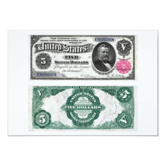 $5 Banknote Silver Certificate Series 1891 3.5x5 Paper Invitation Card