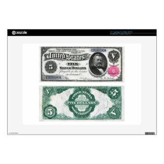 $5 Banknote Silver Certificate Series 1891 Laptop Decal