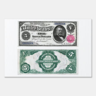 $5 Banknote Silver Certificate Series 1891 Signs