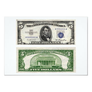 $5 Banknote, Silver Certificate, Series of 1953 3.5x5 Paper Invitation Card