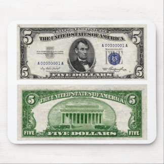 $5 Banknote, Silver Certificate, Series of 1953 Mouse Pad