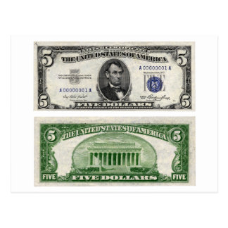 $5 Banknote, Silver Certificate, Series of 1953 Postcard
