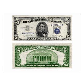 $5 Banknote, Silver Certificate, Series of 1953 Postcard
