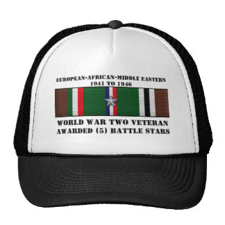 5 BATTLE STARS / WORLD WAR II VETERAN TRUCKER HAT