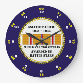 5 BATTLE STARS WWII Asiatic Pacific Veteran Large Clock
