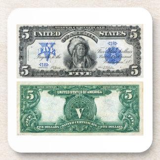 $5 billete de banco, serie del certificado de plat posavasos de bebida