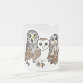 5 Birdorable Owls Frosted Glass Coffee Mug
