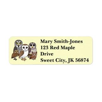 5 Birdorable Owls Return Address Label