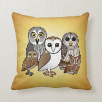 5 Birdorable Owls Throw Pillow