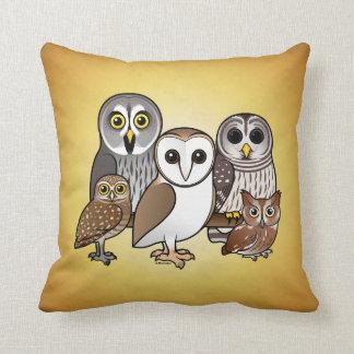 5 Birdorable Owls Throw Pillow