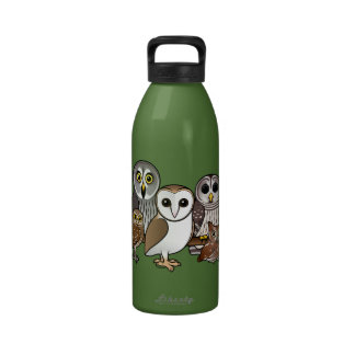 5 Birdorable Owls Reusable Water Bottles