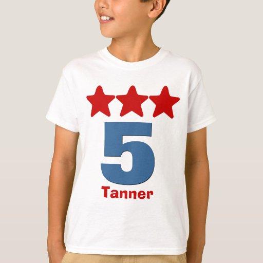 5 birthday boy stars big number custom name v03b t shirt for Personalized last name university shirts