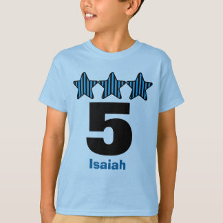 5 Birthday Boy Stars Big Number Custom Name V23 T-Shirt