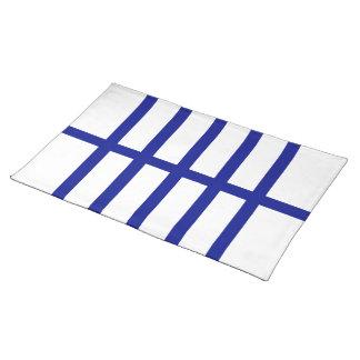 5 bisecó líneas azules mantel individual