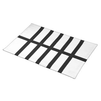 5 Bisected Black Lines Cloth Placemat