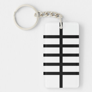 5 Bisected Black Lines Double-Sided Rectangular Acrylic Keychain
