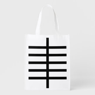 5 Bisected Black Lines Grocery Bags